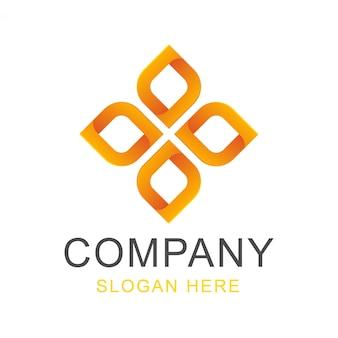 Diseño de logotipo de flor cuadrada