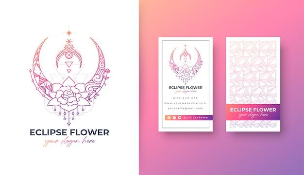 Diseño de logotipo de flor de eclipse con tarjeta de visita de potrait