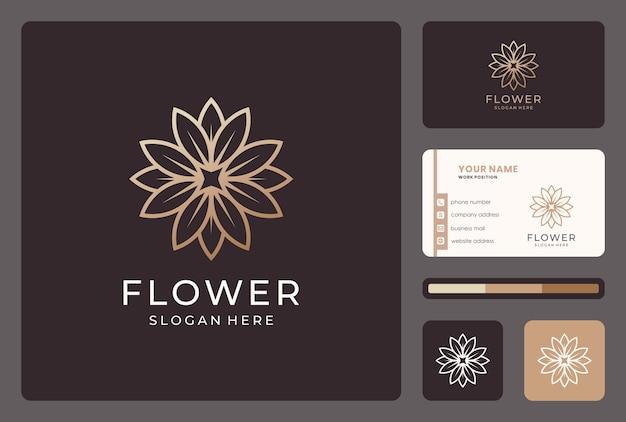 Diseño de logotipo de flor de línea abstracta dorada con tarjeta de visita.