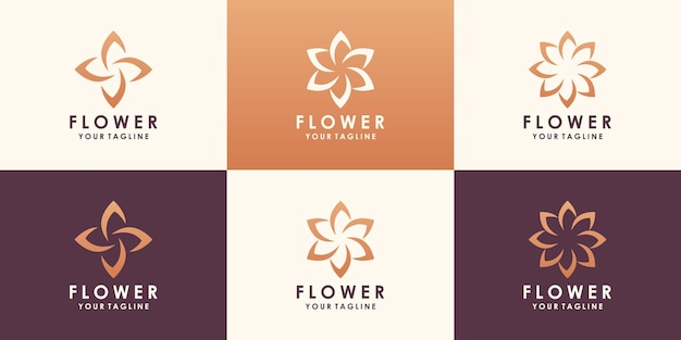 Diseño de logotipo de flor de loto. logotipo floral de hoja universal lineal