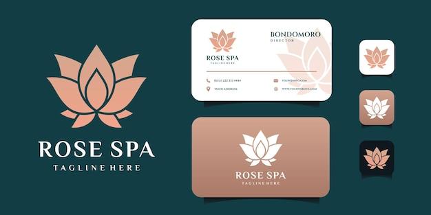 Diseño de logotipo de flor de loto rosa spa con plantilla de tarjeta de visita.