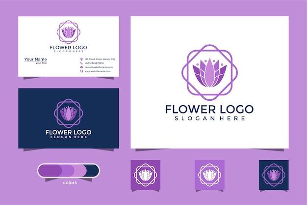 Diseño de logotipo de flor de loto y tarjeta de visita.