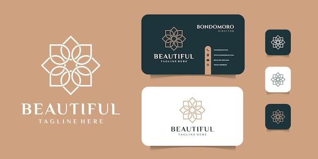 Diseño de logotipo de flor de monograma con plantilla de tarjeta de visita