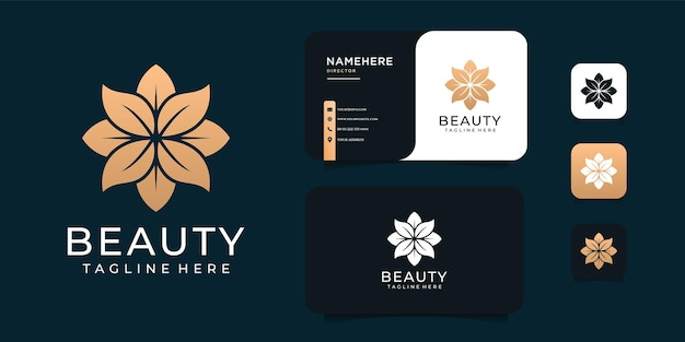 Diseño de logotipo de flor de oro de belleza inspiradora