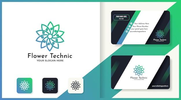 Diseño de logotipo de flor de tecnología de belleza circular y tarjeta de visita.
