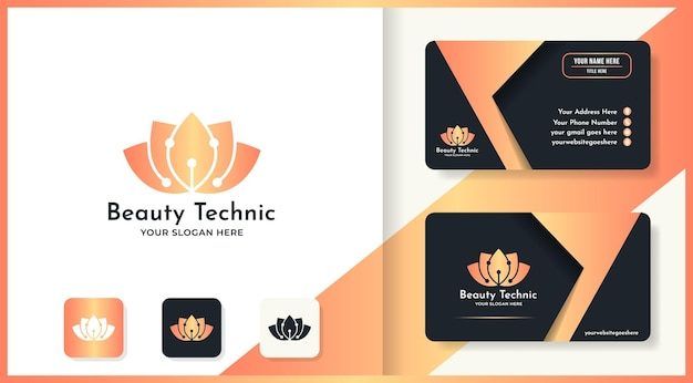Diseño de logotipo de flor de tecnología de belleza y tarjeta de visita.
