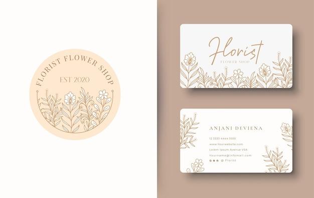 Diseño de logotipo floral de belleza con tarjeta de visita.