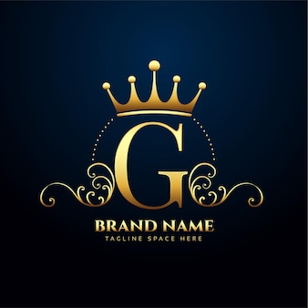 Diseño de logotipo floral y corona premium letra g