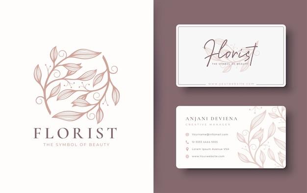Diseño de logotipo floral vintage abstracto