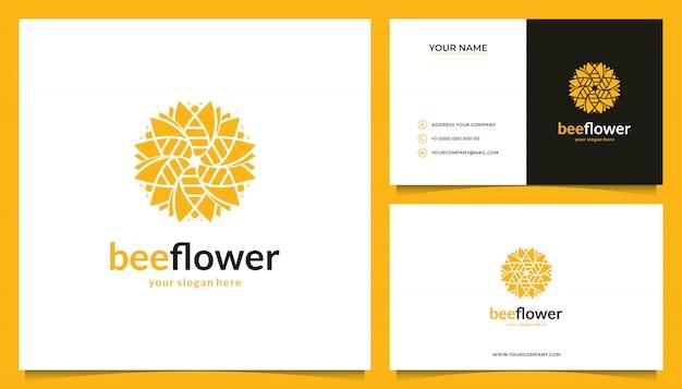 Diseño de logotipo de flores con una combinación de abejas y tarjetas de visita