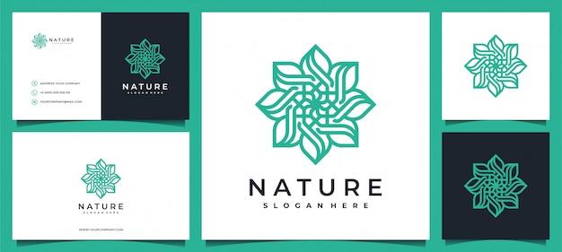 Diseño de logotipo de flores con elegante tarjeta de visita.