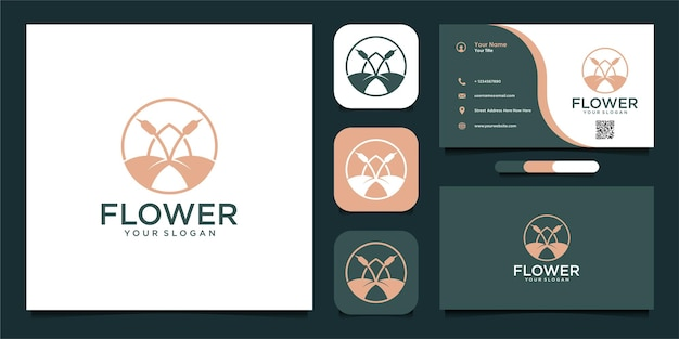 Diseño de logotipo de flores con estilo de arte lineal.