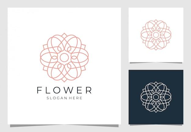 Diseño de logotipo de flores en estilo de línea de arte