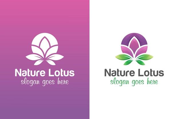 Diseño de logotipo de flores de loto con dos versiones.