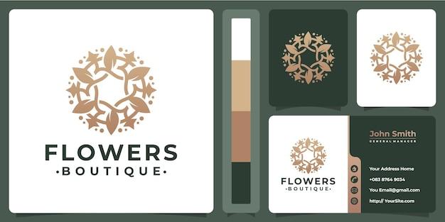 Diseño de logotipo de flores monoline premium con plantilla de tarjeta de visita
