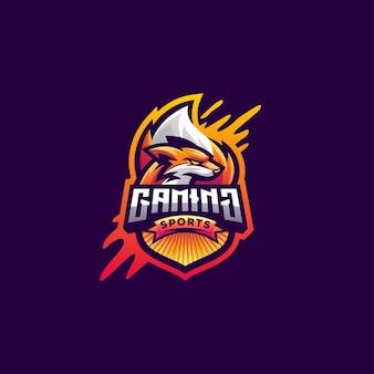 Diseño de logotipo de fox para juegos de deportes