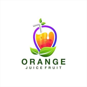 Diseño de logotipo de fruta de jugo de naranja
