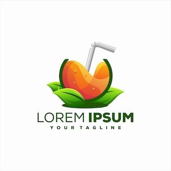 Diseño de logotipo de fruta naranja jugo