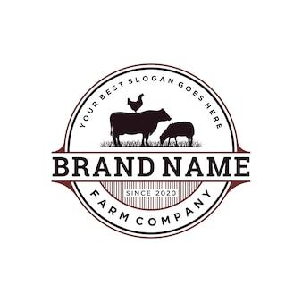 Diseño de logotipo de ganado vintage