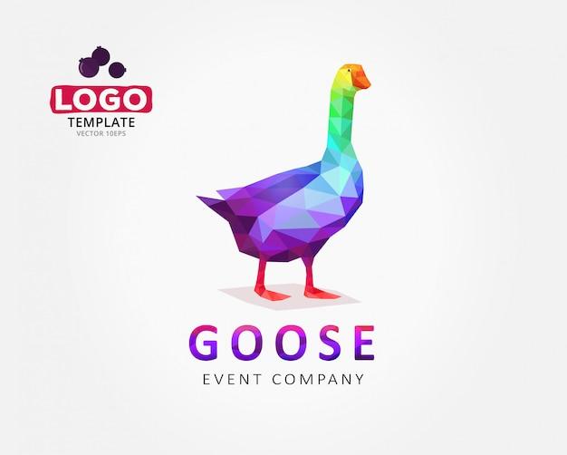 Diseño de logotipo de ganso en estilo polígono