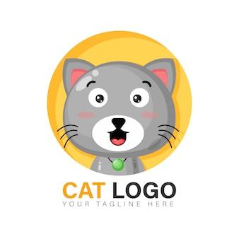 Diseño de logotipo de gato lindo