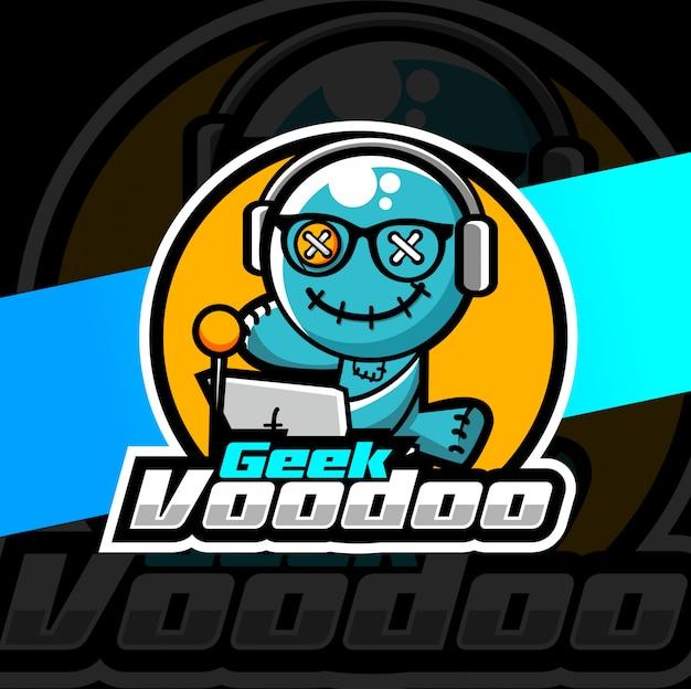 Diseño de logotipo de geek vudú mascota esport