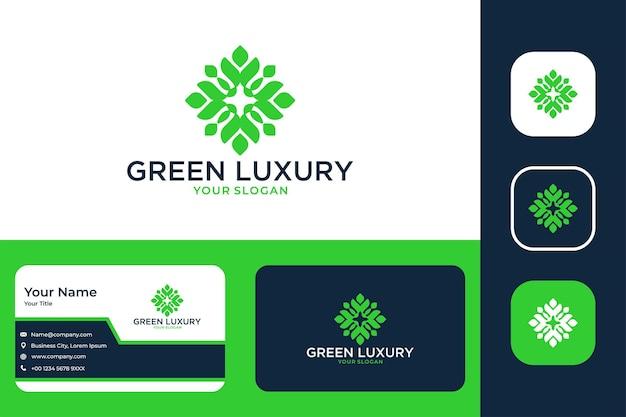 Diseño de logotipo de geometría de lujo verde y tarjeta de visita.