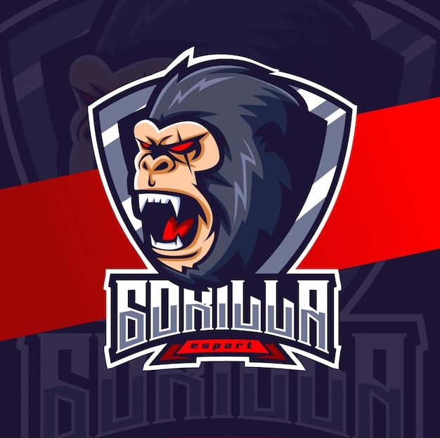 Diseño de logotipo de gorila mascota esport