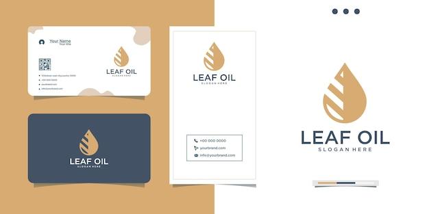Diseño de logotipo de gota de aceite de hoja natural y tarjeta de visita.
