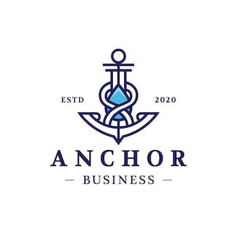 Diseño de logotipo de gota de agua de ancla