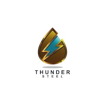 Diseño de logotipo de gota de agua dorada y trueno