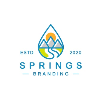 Diseño de logotipo de gota de agua de primavera