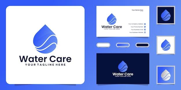 Diseño de logotipo de gota de agua y tarjeta de visita.