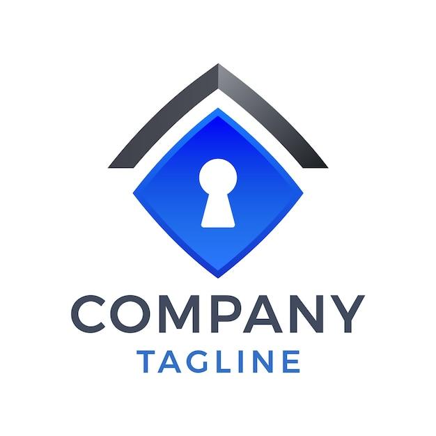 Diseño de logotipo de gradiente 3d de techo de casa segura moderno simple