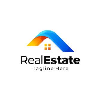 Diseño de logotipo de gradiente de bienes raíces
