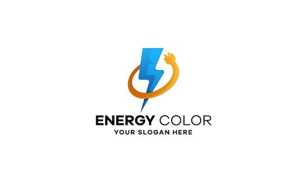 Diseño de logotipo de gradiente de carga de energía