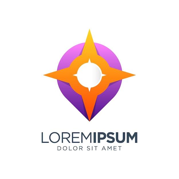 Diseño de logotipo de gradiente de color de brújula