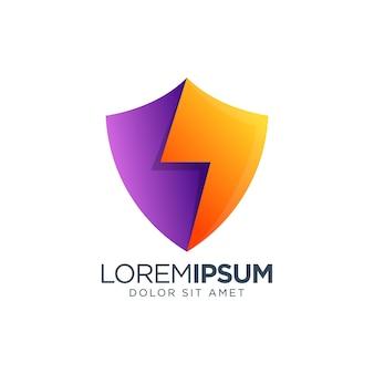 Diseño de logotipo de gradiente de color de escudo