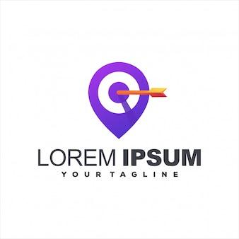 Diseño de logotipo de gradiente de destino de pin