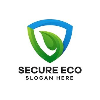 Diseño de logotipo de gradiente ecológico de seguridad