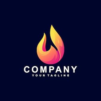 Diseño de logotipo de gradiente de fuego de llama