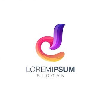 Diseño de logotipo gradiente letra d