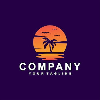 Diseño de logotipo de gradiente de océano al atardecer