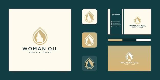 Diseño de logotipo de gradiente de oro de peluquería de aceite de mujer de lujo y tarjeta de visita