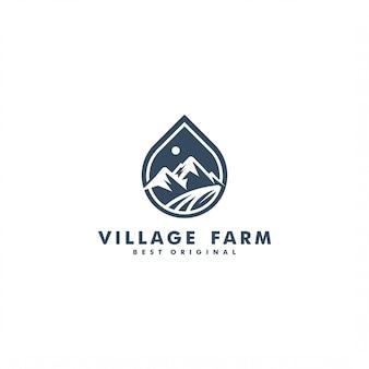 Diseño de logotipo de granja de montaña y pueblo
