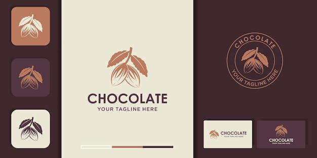Diseño de logotipo de granos de cacao natural y tarjeta de visita.