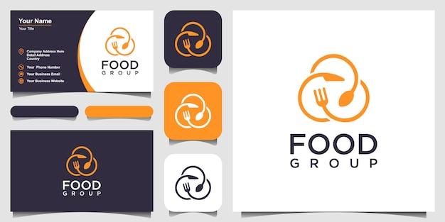 Diseño del logotipo del grupo de alimentos combinado con un tenedor, cuchillo y cuchara. diseño de tarjeta de visita