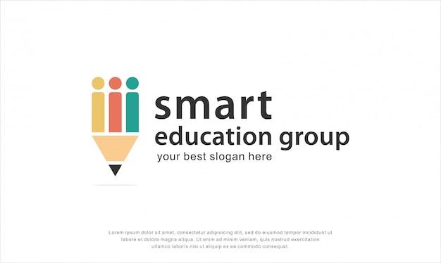 Diseño de logotipo de grupo de educación inteligente