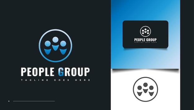 Diseño de logotipo de grupo de personas. personas, comunidad, familia, red, centro creativo, grupo, logotipo de conexión social o icono de identidad empresarial