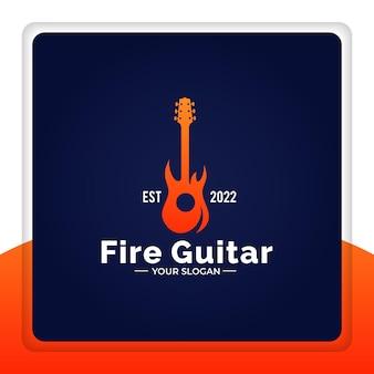Diseño de logotipo guitarra fuego llama rock ilustración vectorial